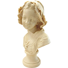 """Bust of Young Girl, signed """"Paris-Grinam Niam"""""""