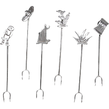 Maricela Sterling Hors d'oeuvres Set of Six-Mexican Designs
