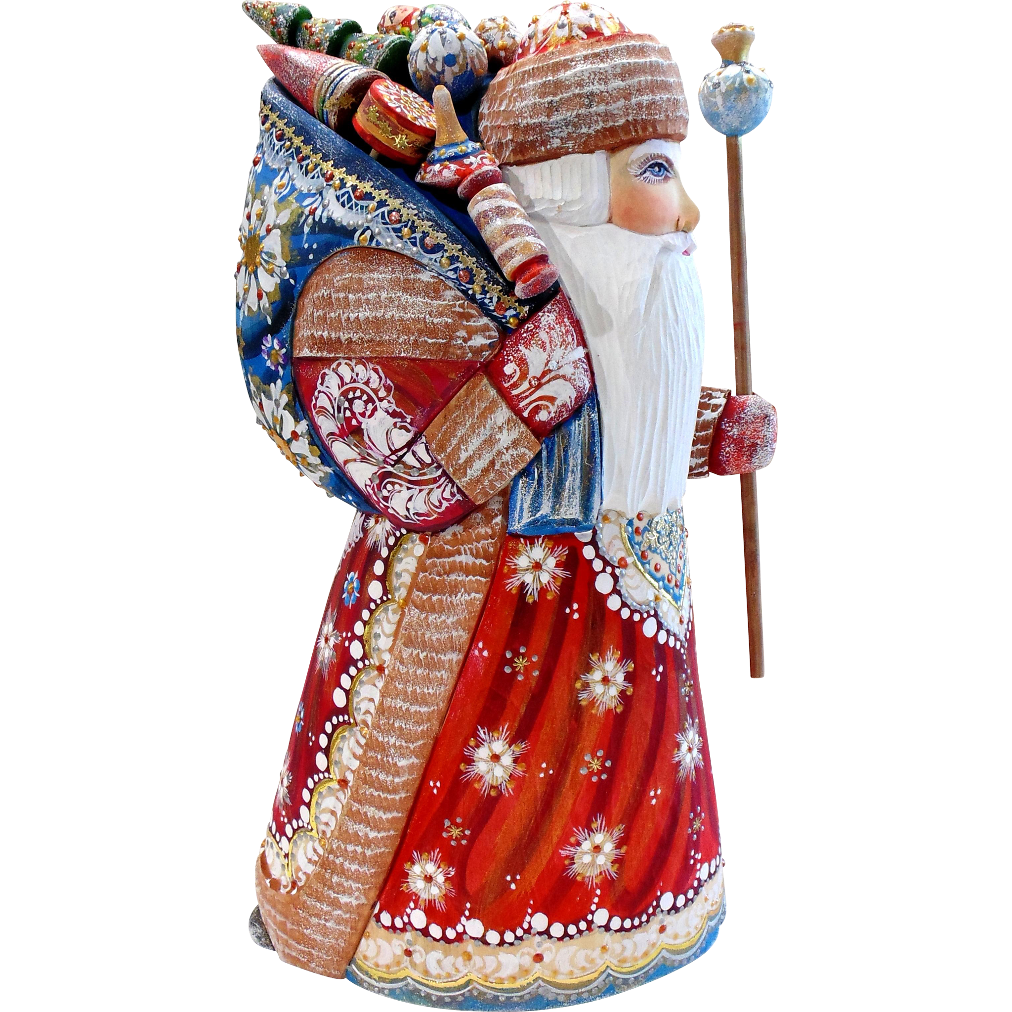 Large Russian Santa with Sack of Toys & Staff - Hand Carved & Painted