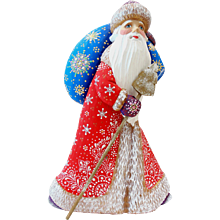 Russian Santa Red,Blue & Purple-Hand Carved & Painted