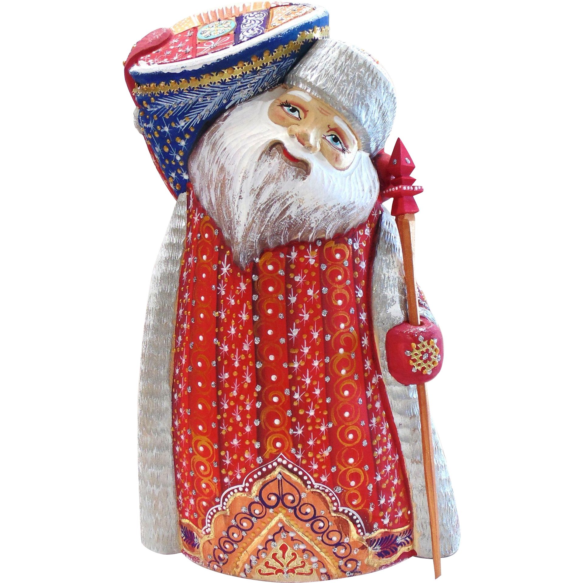 Russian Santa Carrying Blue Gift  Bag