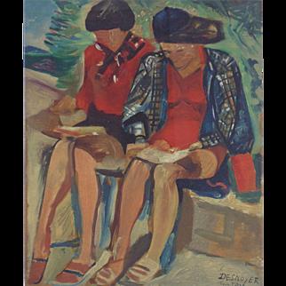 Liseuses au Bord de Mer, Original Wood Engraving after Francois Desnoyer (Fr. 1894-1972)