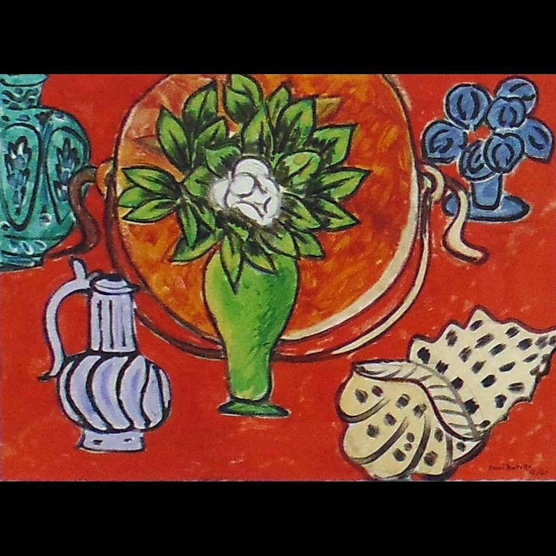 Nature Morte au Magnolia, Original Wood Engraving after Henri Matisse (Fr. 1869-1954)