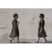The Student: Homage to Michelangelo, Etching by David Hockney (British: b 1937)