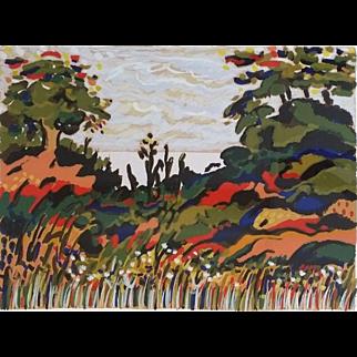 Untitled Landscape, Serigraph by Yehouda Chaki (Greek: b, 1938)