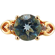 Blue Topaz & Cubic Zirconia Ring 14kt Yellow Gold