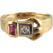 Diamond & Synthetic Lady's Ruby Ring 14kt Two-tone Gold