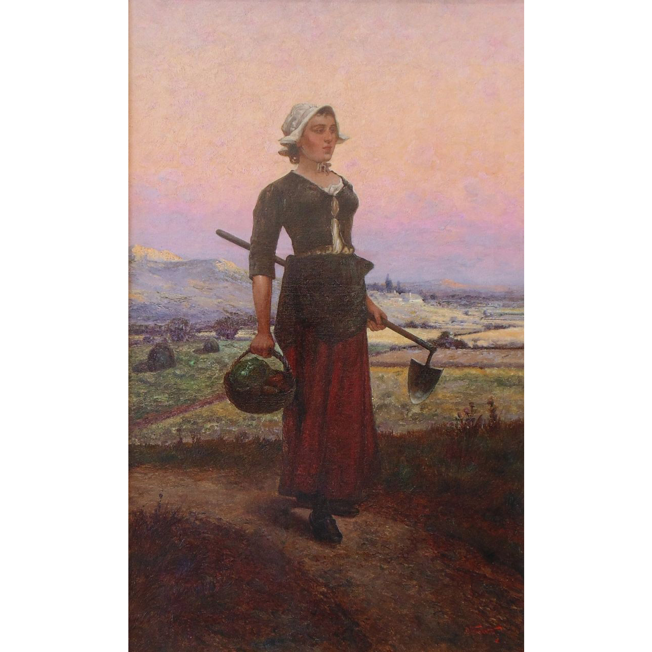 Original Oil Painting of a Woman by Oldrich Farsky, Listed