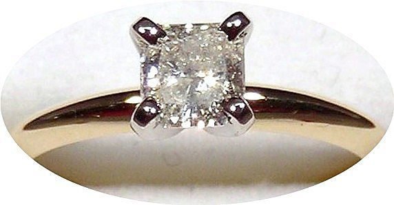 Diamond Solitaire Ring 14kt Two Tone Gold, Size 6 1/4