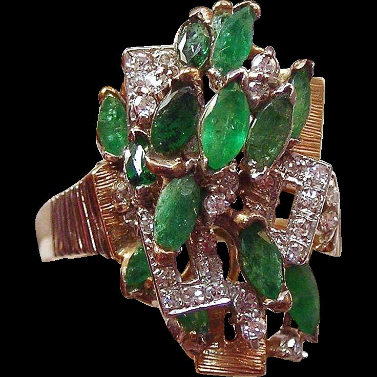Emerald & Diamond Ring 14k Two Tone Gold , Size 9 1/4