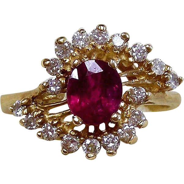 Ruby & Diamond Ring 14kt Yellow Gold , Size 5 1/2