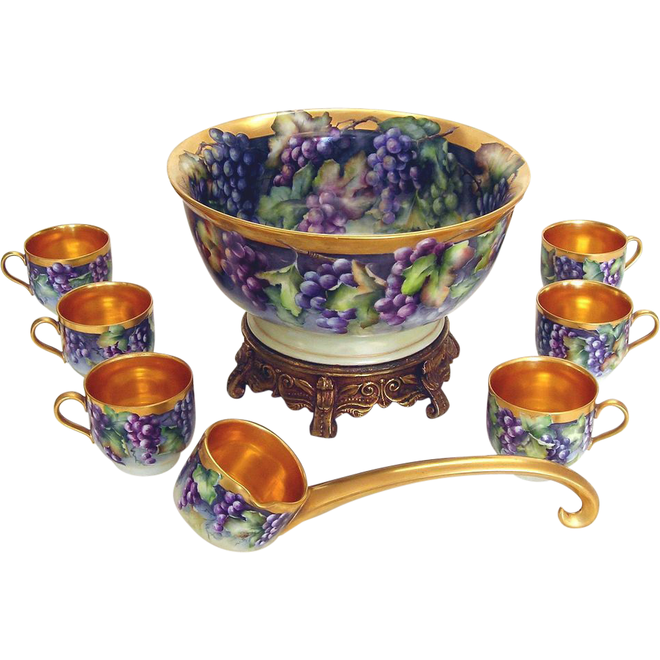 Hand Painted Porcelain Punch Bowl Set with Grapes by Wiseman