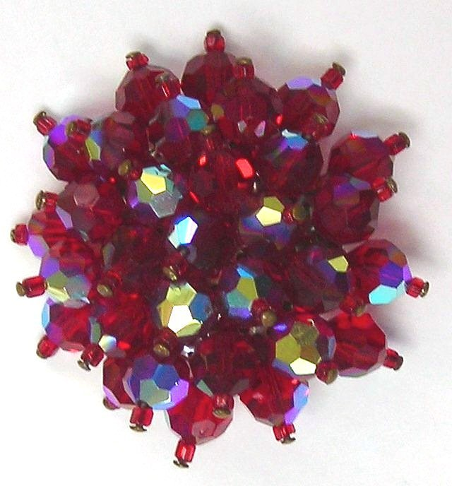 Red Crystal Flower Pin / Brooch