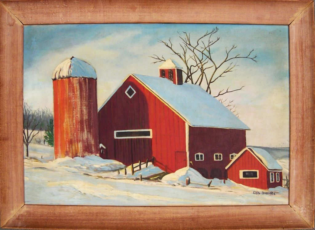 Red Barn In Winter 20th C American Oil Painting From