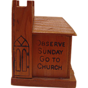 Vintage Wooden Church Bank, Circa 1940s