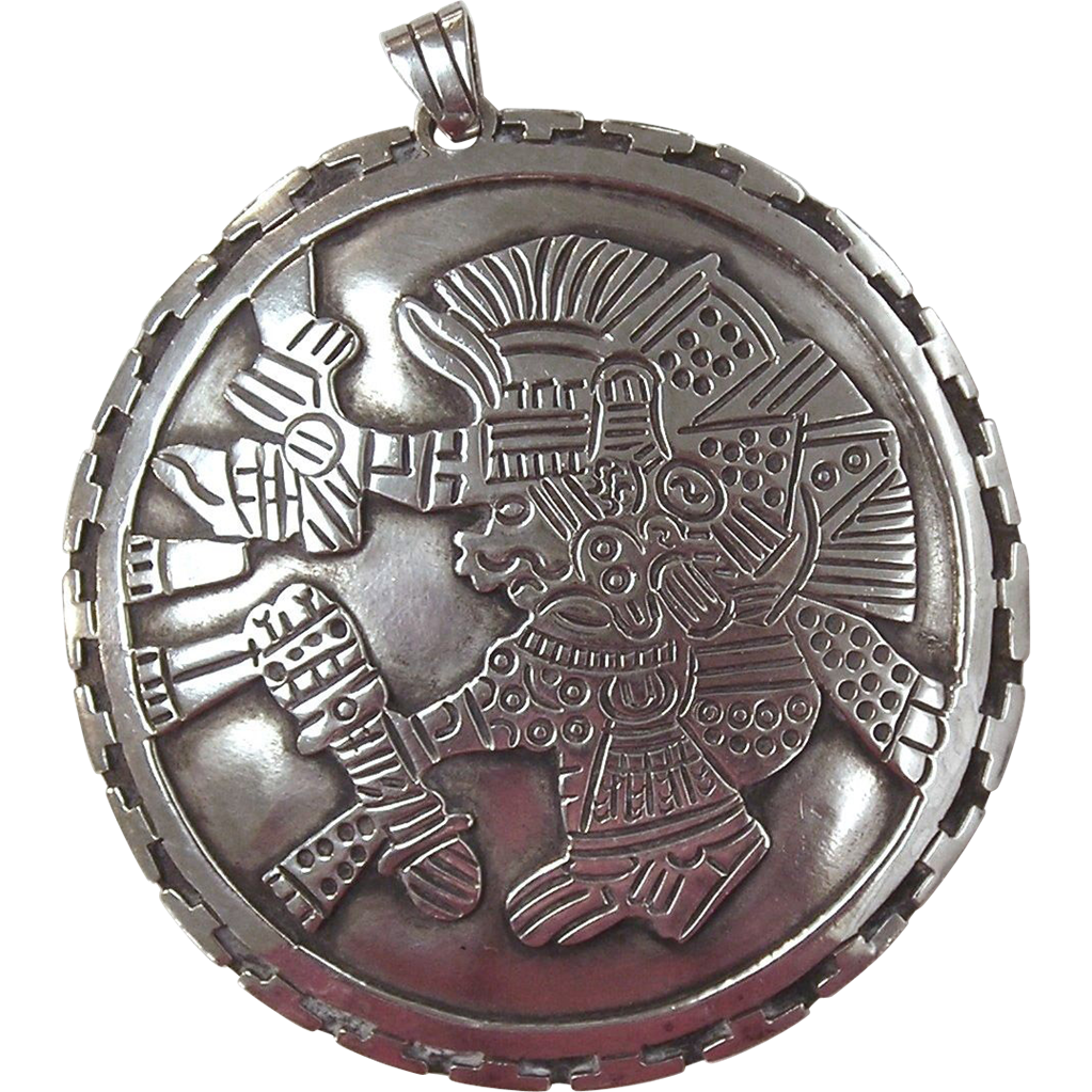 Los Ballesteros, Sterling Silver Pendant with Aztec Design, signed