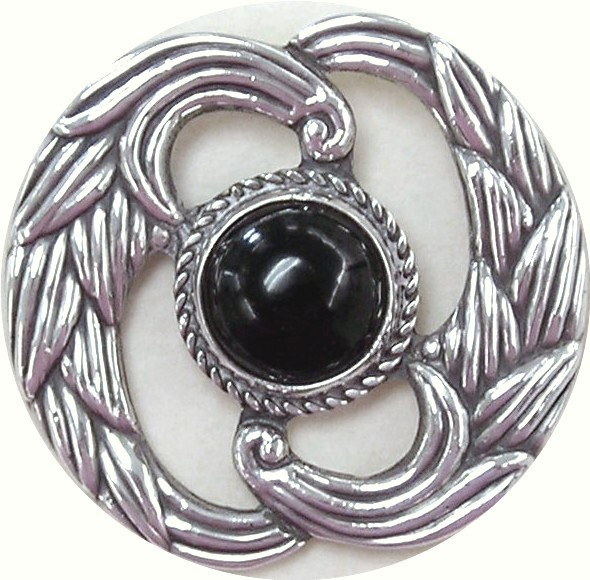 Sterling Silver and Onyx Pin, Los Castillo