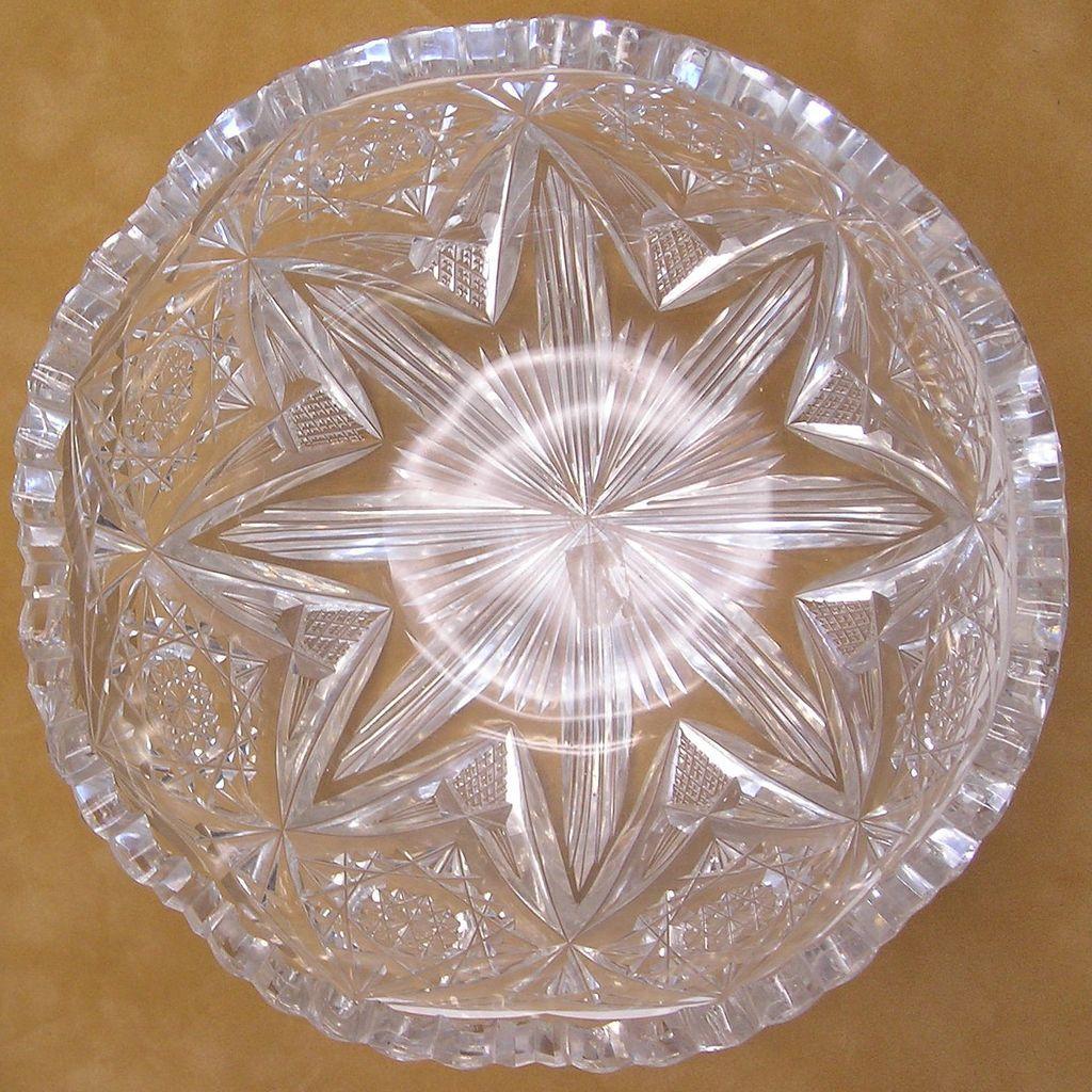 Libbey American Brilliant Period Cut Glass Bowl Seaside