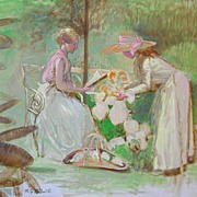 Impressionistic Oil Painting by Perlmutter of Women in Garden