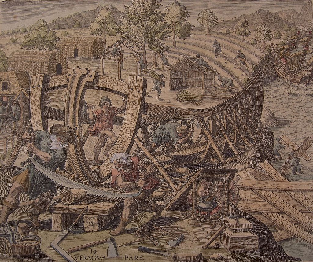 Ship Building, Original Engraving by de Bry, circa 1594