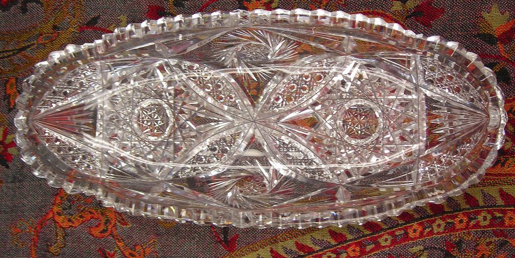 American Designer Cut Glass Celery Dish - 20th Century