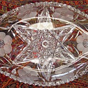 American Cut Glass Dish: Star & Floral Design