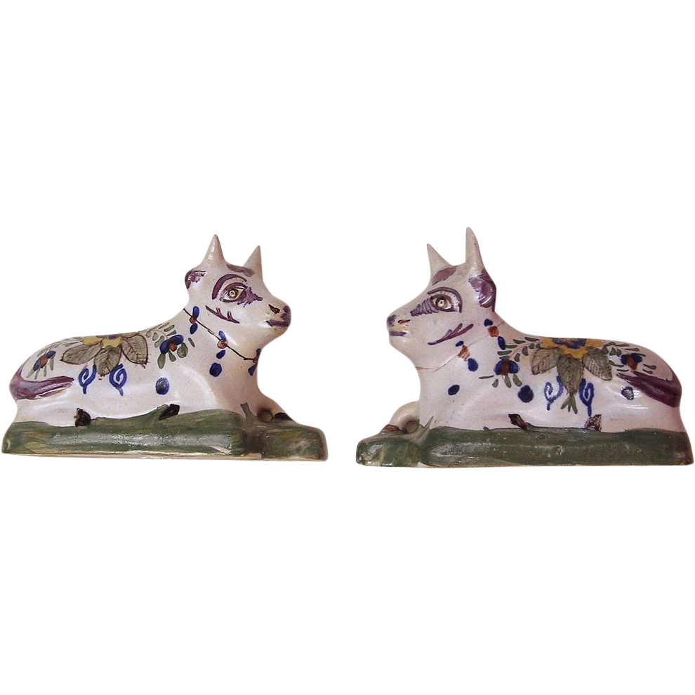 Pair of 17th Century Delft Pottery Cows