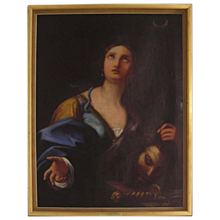 Judith With The Head of Holofernes  -  Antique Oil Painting