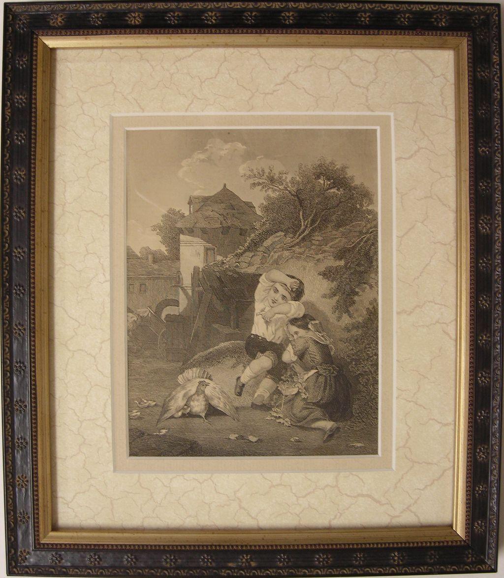 Antique Engraving  -  Children and Chicken / Hen