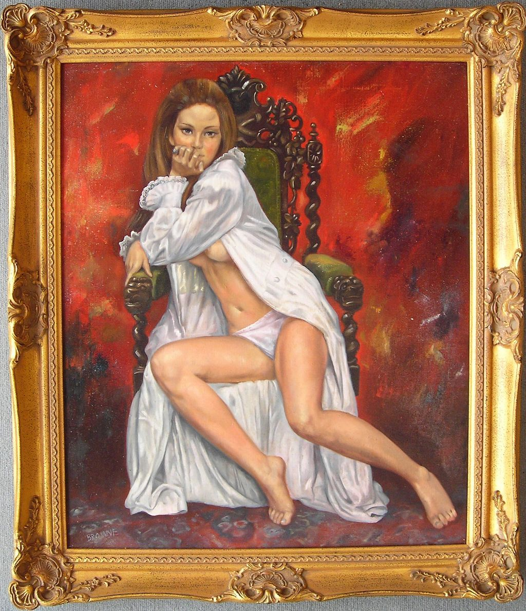 Semi Nude Woman - Original Oil Painting by Bob Browne