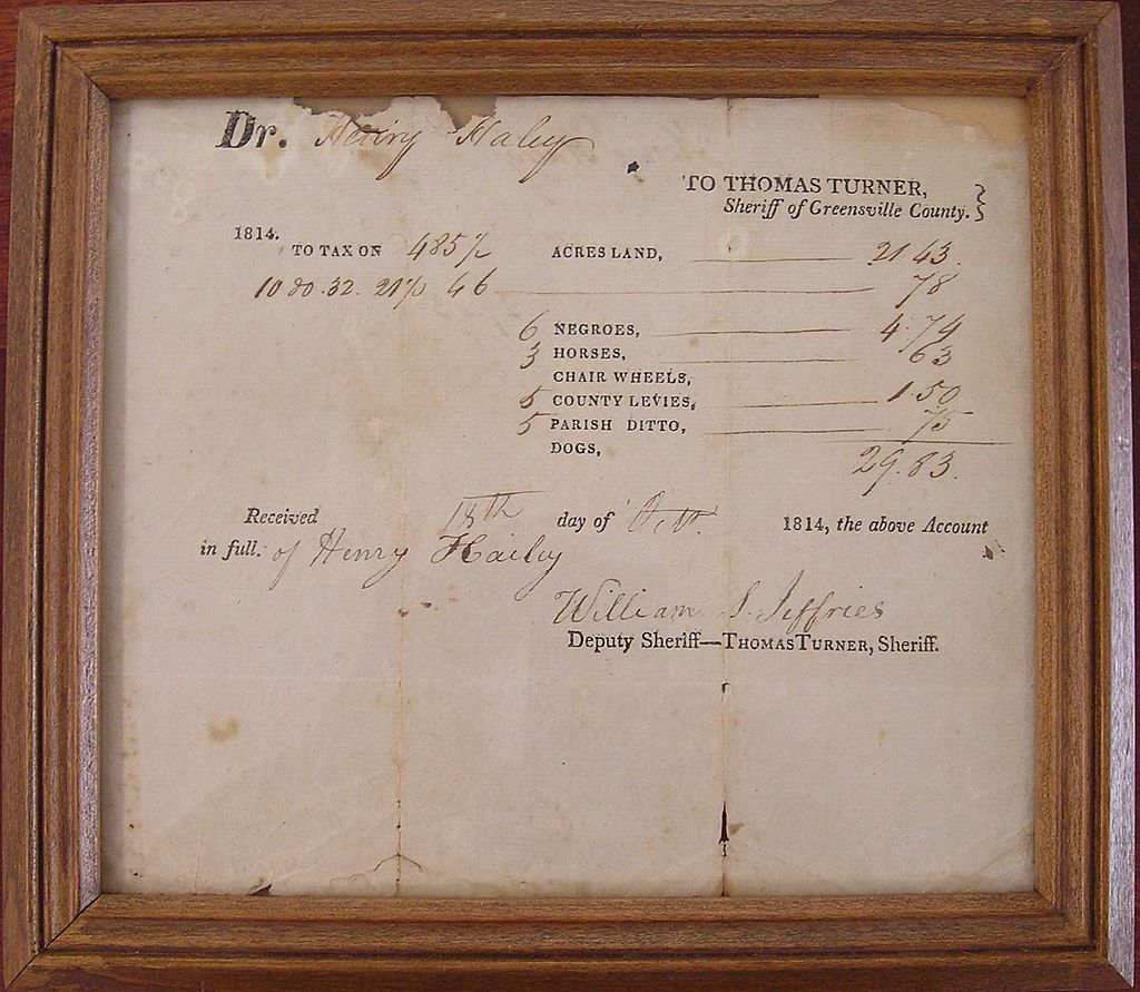 19th C Slave & Property Tax Document - Virginia