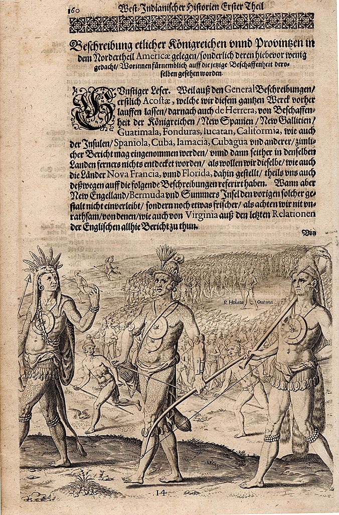 Florida Native American Indian  16th Century Engraving by DeBry