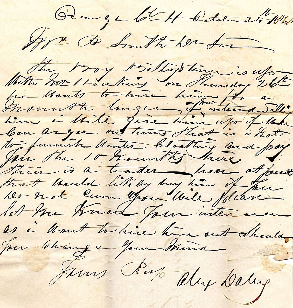 19th Century Slave Document From Orange County, VA