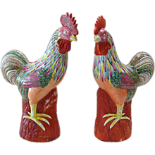 Pair of Oriental Pottery Roosters - Signed - Large
