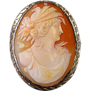 Sterling Silver Cameo of A Grecian Style Woman