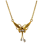Diamond Necklace 14kt Two Tone Gold - Vintage