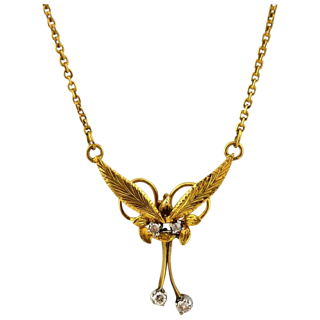 Diamond Necklace 14kt Two Tone Gold - Vintage