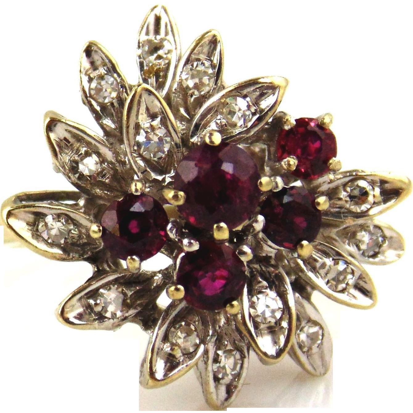 Ruby & Diamond Ring 18kt White Gold Cocktail Ring