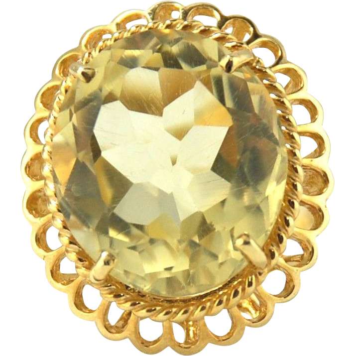 Citrine Ring 14kt Yellow Gold  - 18.23cts