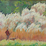 Original Oil Painting of Man and Dog Hunting by Schuyler