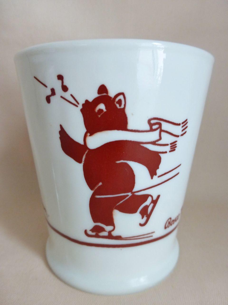 Bosco Skating Bear Mug by Fire King from seasonspast on Ruby Lane