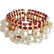 Crown Trifari Faux Baroque Pearl Red Crystal Cha Cha Bracelet
