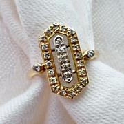 14K Diamond Art Deco Style Ring Size 7