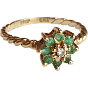 14K Emerald & Diamond Cluster Ring Size 6.5