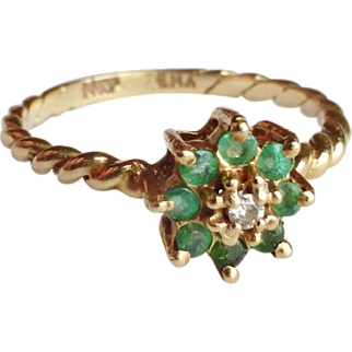14K Emerald & Diamond Cluster Ring Size 6.5