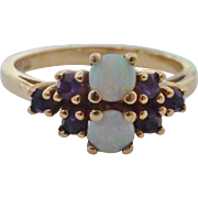 14K Fiery White Opal & Amethyst Ring Size 7.5