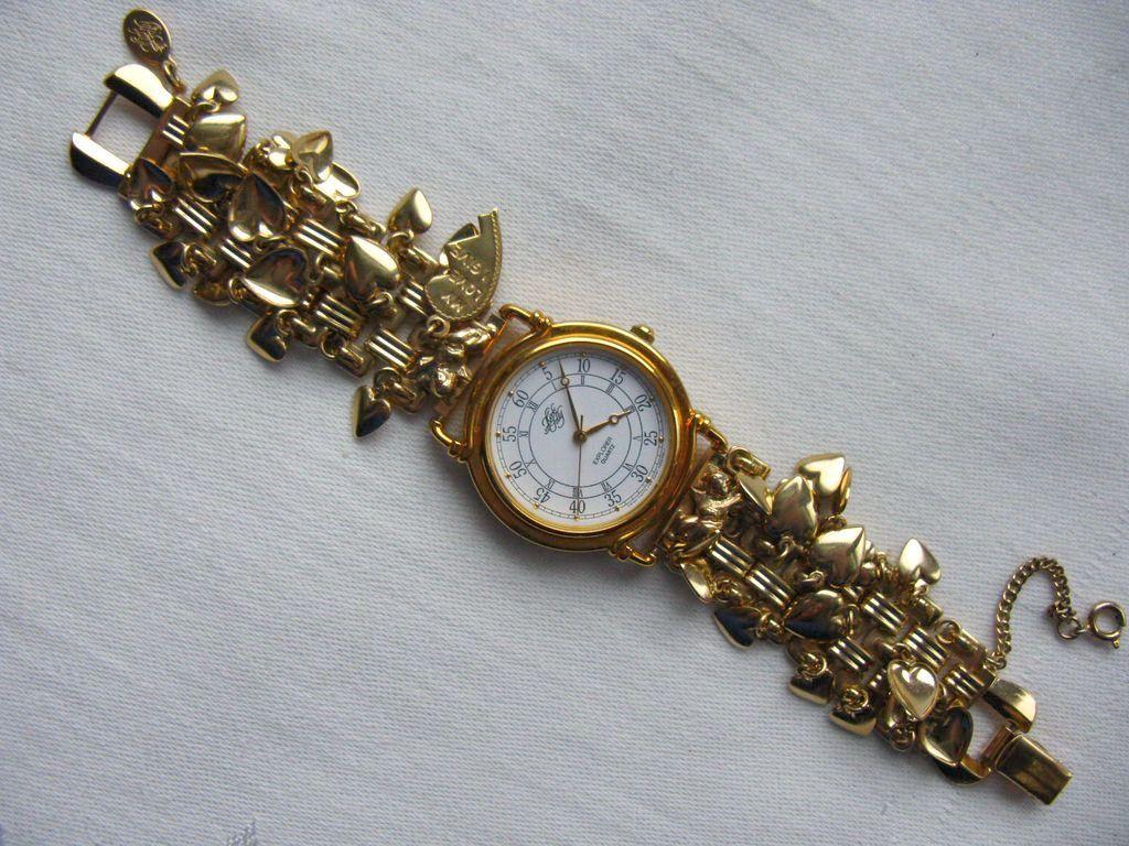 vintage kirk s folly hearts cherubs wristwatch from