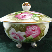 LEFTON CHINA Hand Painted Heritage Green Footed Box