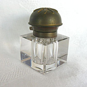 Early 1900's Beveled Glass Inkwell w/ Brass Lid