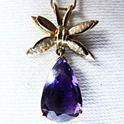 14K Yellow Gold Amethyst Butterfly Pendant Necklace